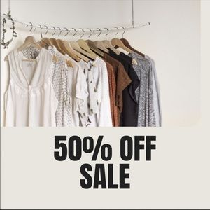 50% off sales on all items.